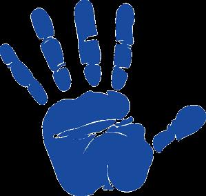 blue hand print